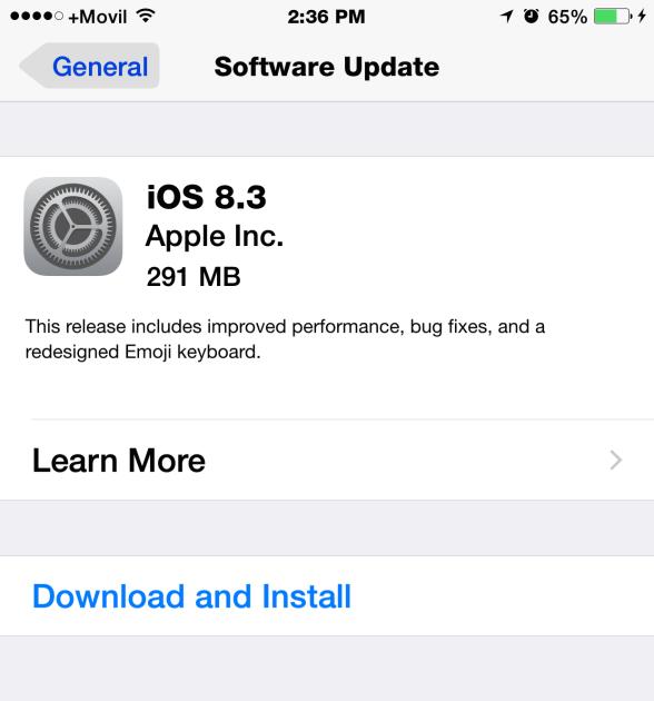 iOS 8.3 nuevo